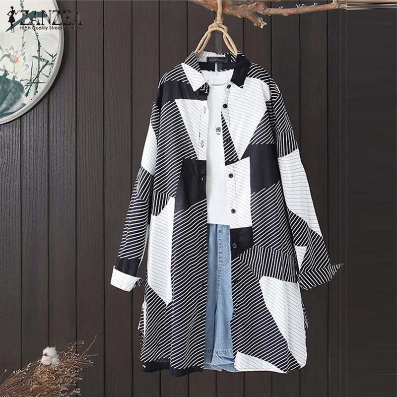 Vintage Printed Tops Women's Shirts ZANZEA 2020 Casual Geometric Long Sleeve Blouse Female Lapel Button Blusas Plus Size Tunic