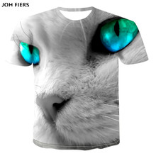 Summer Tops Men/women 3d t-shirt short sleeve digital printing big face green eyes cat  t shirt tees 3D T Shirt men