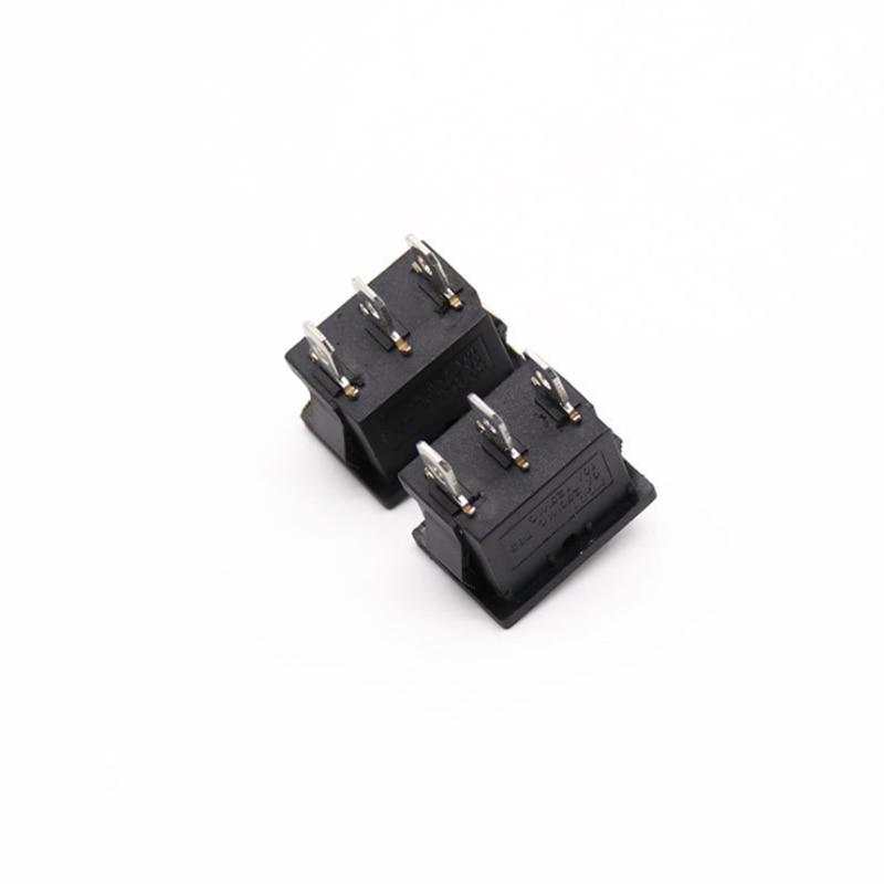 1 قطعة KCD1 البسيطة الأسود 3 دبوس/6 دبوس على/قبالة/على الروك التبديل AC 6A/ 250V10A/125V