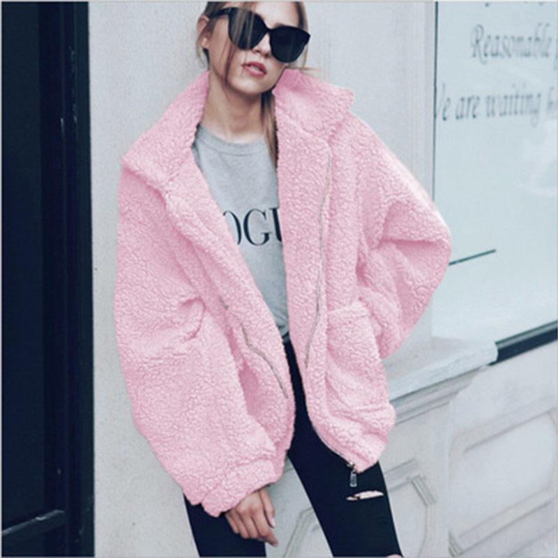 H94021134a1f143baa9846ff718f6ec3bc Autumn winter jacket female coat 2019 fashion korean style plus size women teddy fur coat female casual jacket woman pusheen