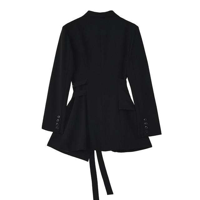 [EAM]  Women Irregular Bandage Spliced Blazer New Lapel Long Sleeve Loose Fit Jacket Fashion Tide Spring Autumn 20211DA710 3