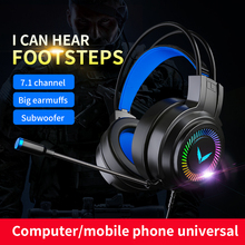 BULIAN Gaming Headset Gamer Headphones Surround Sound Stereo Wired Earphones USB Microphone Colourful Light PC Laptop Game Heads