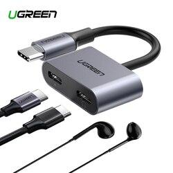 Ugreen 2 em 1 tipo c para dupla digital usb c adaptador divisor de áudio fone ouvido para ipad pro 2018 google pixel 2xl huawei p30 pro mi8
