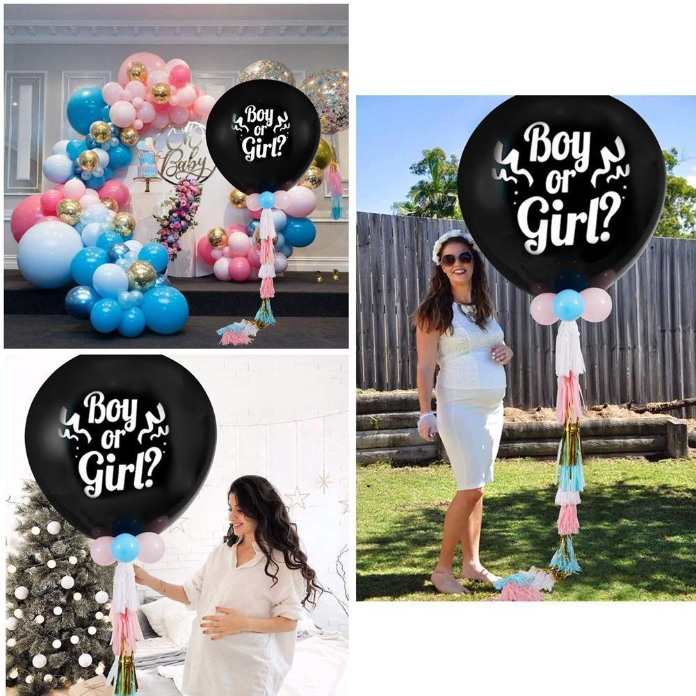 1pc 36 cali chłopiec lub dziewczyna balon czarny lateksowy balon odsłonić płeć świętuje wystrój bez dziecka konfetti prysznic Party noworodka