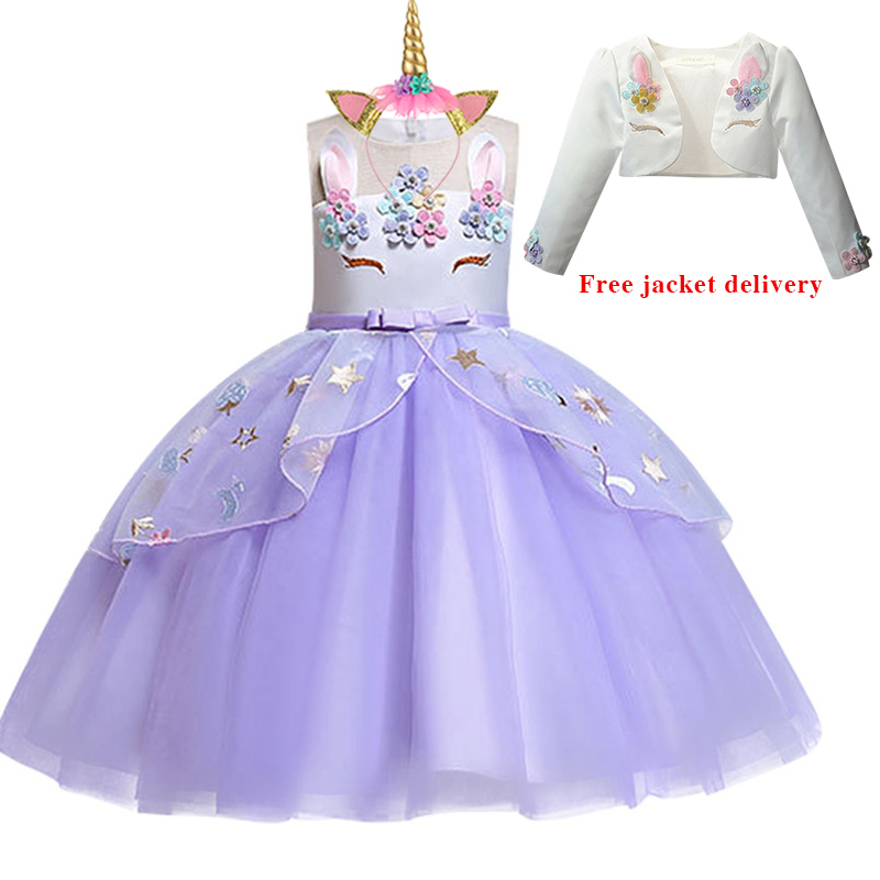 H9402266103f445c29978b63bdf17bf7aS New Unicorn Dress for Girls Embroidery Ball Gown Baby Girl Princess Birthday Dresses for Party Costumes Children Clothing