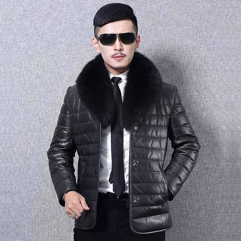 XIKOI New Fashion Men Brand Fur Coat Jacket Business Slim Male Single Breasted Leather Jacket With Fur Collar Thicken Jacket