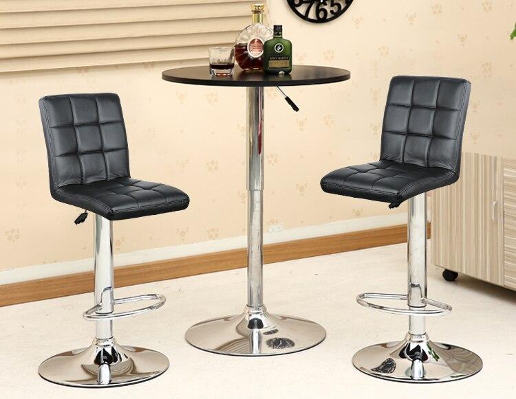 2PCS/Set Modern Leather BarStool Minimalist Home Backrest Adjustable Dining Chair High Stool RestaurantCafe Stool Bar Supplies