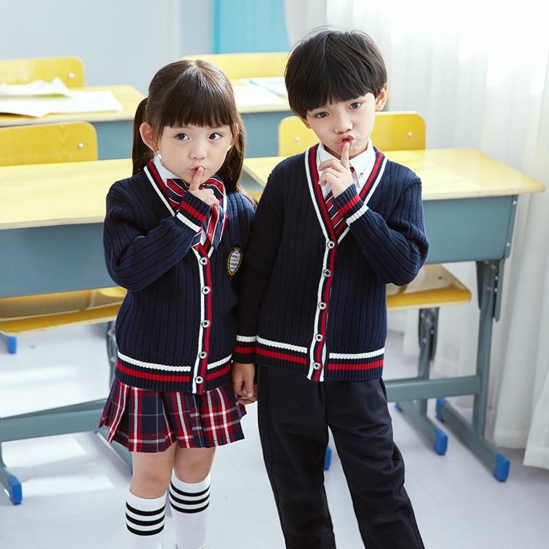 Blue Children's School Uniforms Clothing Sets Boys And Girls British College Style Kindergarten Class Clothes Kids Blazer Pants