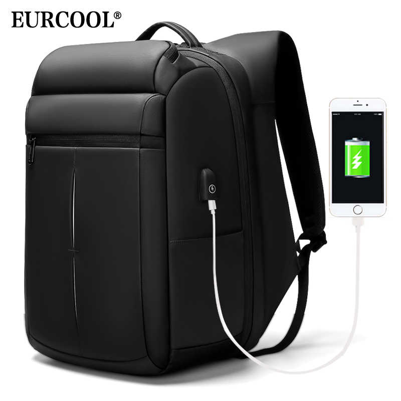 EURCOOL 2019 NEW Travel Backpack Men 15.6 inch Laptop Bags Teenage Male Mochila Water Repellent Multifunction Backpacks n1933