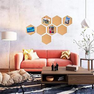 Image 3 - 8 piezas hexagonal corcho tableros foto Mensaje de auto adhesivo Fondo boletín mensaje pegatinas para casa y oficina