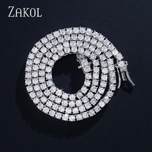 ZAKOL New Trendy 3mm 4mm Round Cut Cubic Zirconia Tennis Necklace Top Quality CZ Box Clasp Women Men Jewelry FSNP2070