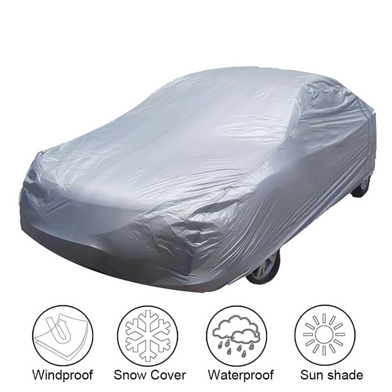 Universal Full Car Covers Windproof Waterproof Snow Auto Shade Cover Light Silver Size S-XXL Car Outdoor Protector Cover