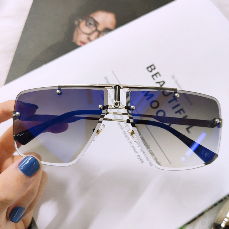 Square Rimless Sunglasses Men <font><b>2020</b></font> Summer New Fashion Sun Glasses Fashion Luxury Brand Shades for Women UV400 zonnebril Eyewear image