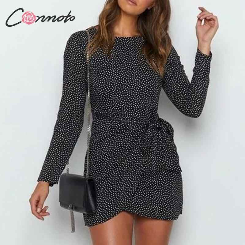 Conmoto Women Winter Black Sexy Short Party Dress 2019 Female Vintage Wrap Autumn Dress Fashion Polka Dot Chiffon Vestido Larger