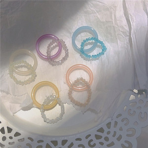 2pcs/set Minimalist Adorable Candy Color Acrylic Transparent Beaded Rings For Women Party Dating Aesthetic Vacation Jewelry Sale(China)