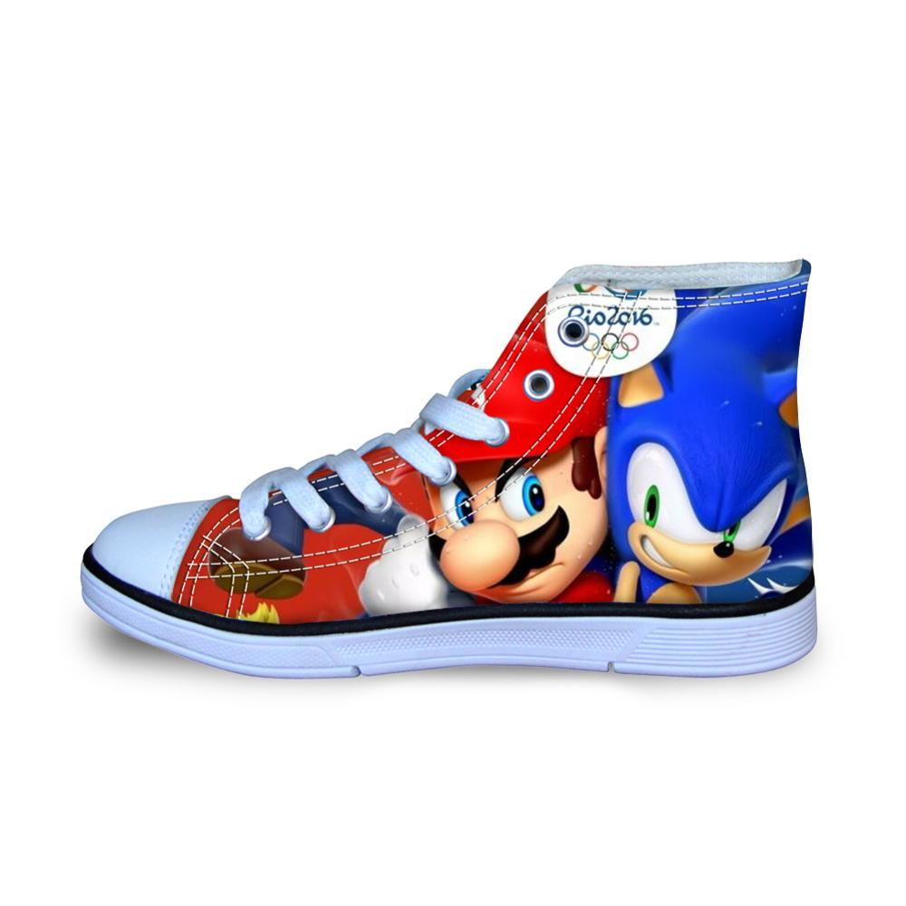 Children S Kids Shoes Sneakers Mario Sonic The Hedgehog Casual Shoes High Top Sport For Children Boys Girls Kids Cotton Fabric Sneakers Aliexpress