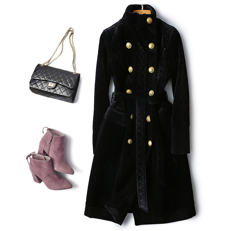 Autumn Winter Vintage Double-breasted Long Sleeve Black Velvet Trench Coat Women Metal Buttons Long Women Clothes 2019