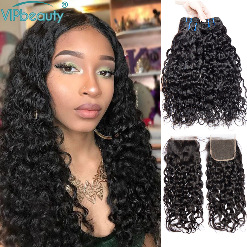 Water Wave Bundles With Closure Natural Color Remy Brazilian Hair Weave 3Bundles With 4x4 Lace Closure 100% Human Hair Extension
