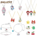 Fashion jewelry high quality SWA cute cat series DIY shiny crystal hello necklace pendant Girl Jewelry Gift Free Delivery