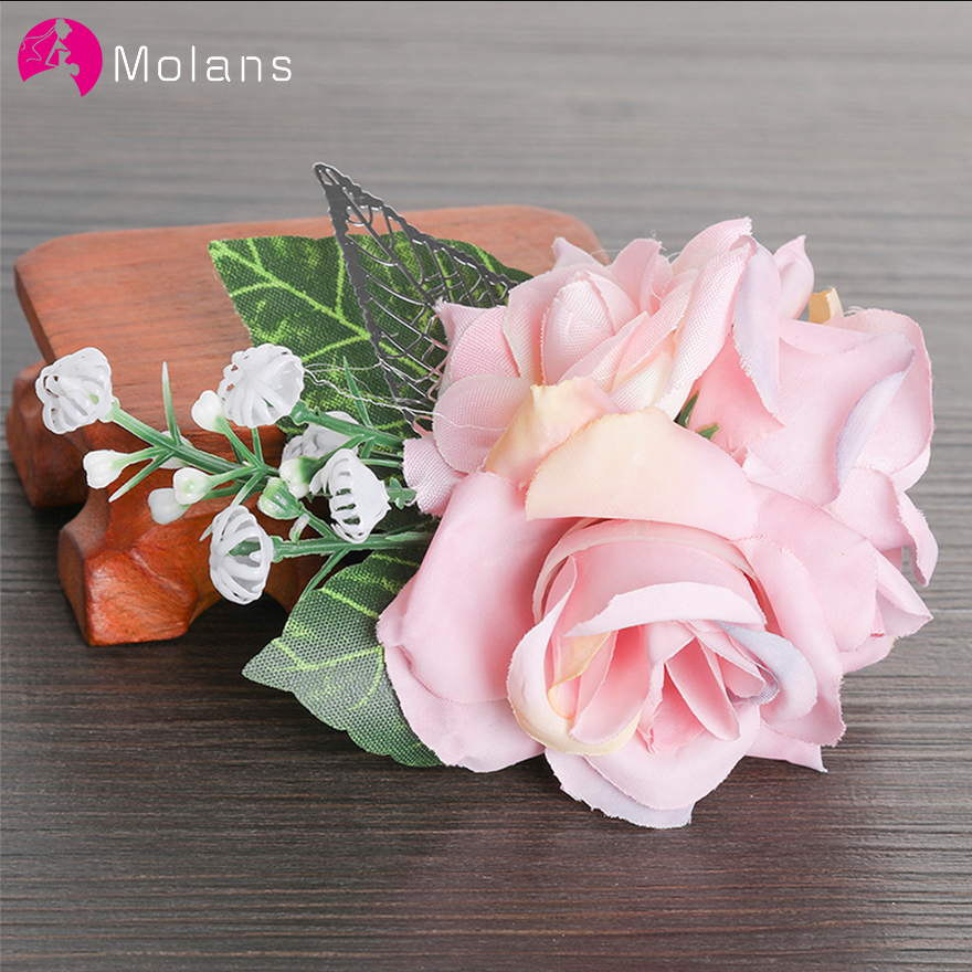 MOLANS Pink Rose Flower Hairpin Headwear Headdress Flowers Hair Clips For Bride Wedding Photography Hair Accessories
