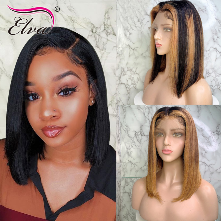 Elva ВОЛОС эффектом деграде (переход от темного к 13x6 Синтетические волосы на кружеве парики из натуральных волос прямые волосы 3T светлые моменты Цвет Экстра Pro. Соотношение 150% Remy короткий парик, короткая стрижка
