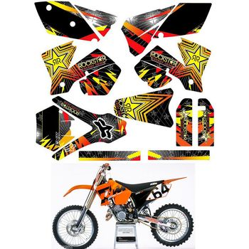 For 2003 2004 KTM SX 125 250 450 525 SX Customized Number Graphics Backgrounds Stickers Kit Decal