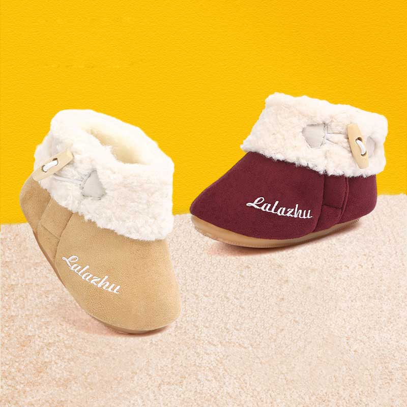 2019 Baby Shoe Winter Baby Girl Boots Newborn Fashion Flanging Warm Fur Babyborn Boots Non-slip Suede Flannel Booties For Winter