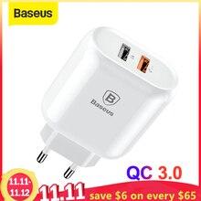 Baseus Dual USB szybka ładowarka 3.0 dla iPhone 8 7 ue wtyczka ładowarka USB Adapter do Samsung S9 S8 Xiaomi szybka ładowarka do telefonu komórkowego