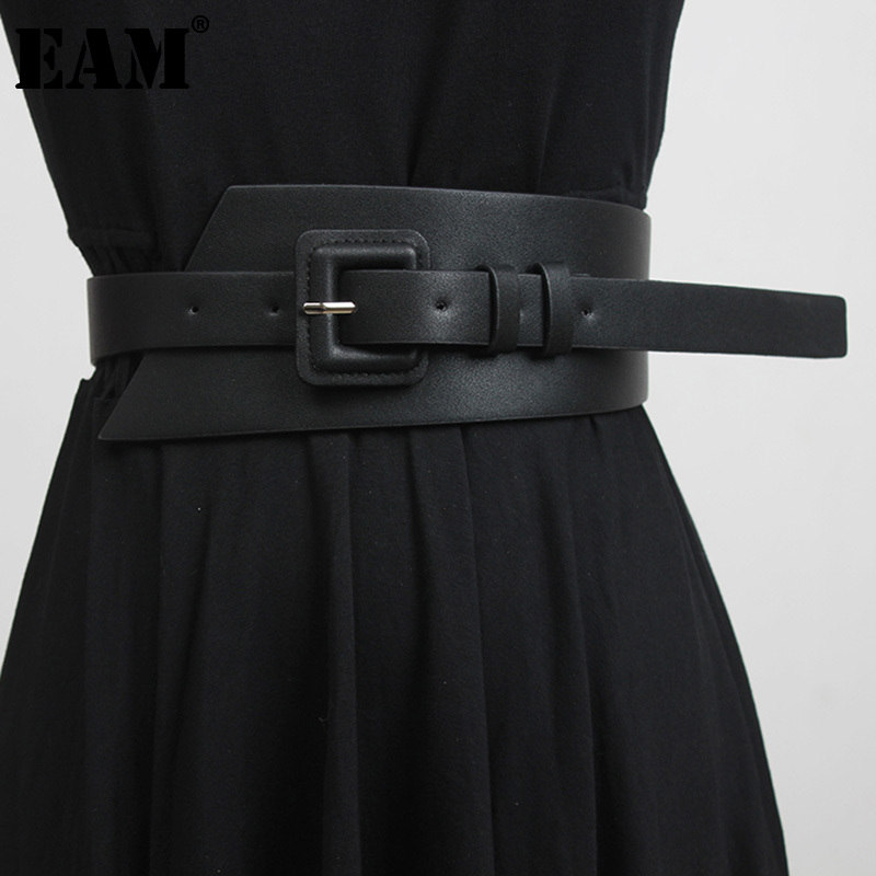 [EAM]  Black Irregular Buckle Multicolor Wide Pu Leather Belt Personality Women New Fashion All-match Spring Autumn 2021 1DD4383