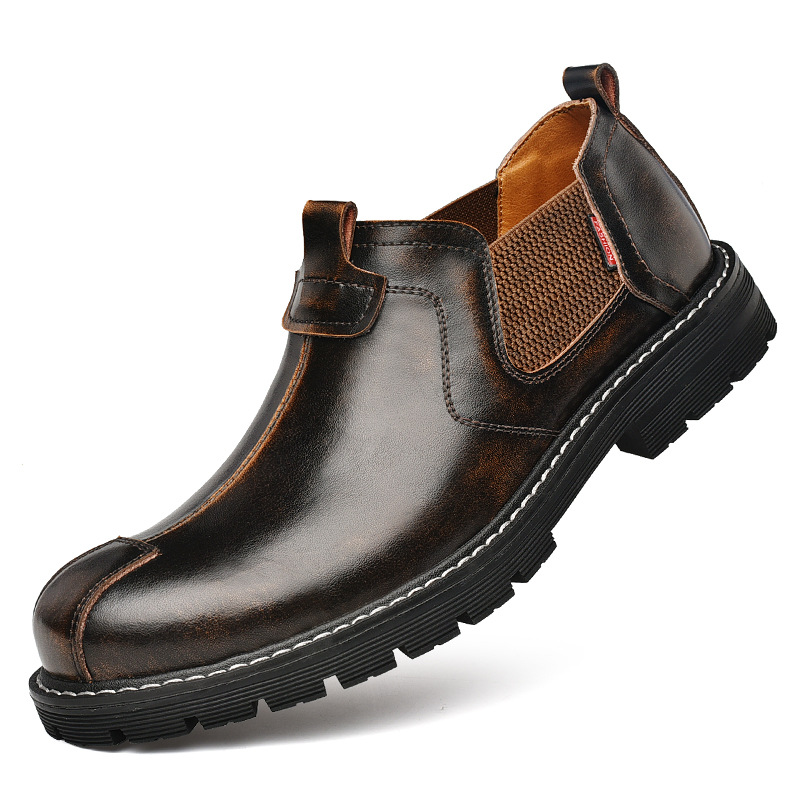 Dynamic Genuine Leather Chelsea Boots Men Leather Shoes 2019 Autumn Early Winter Shoes Man Single Boots Thick Sole Male Footwear Ka1760
