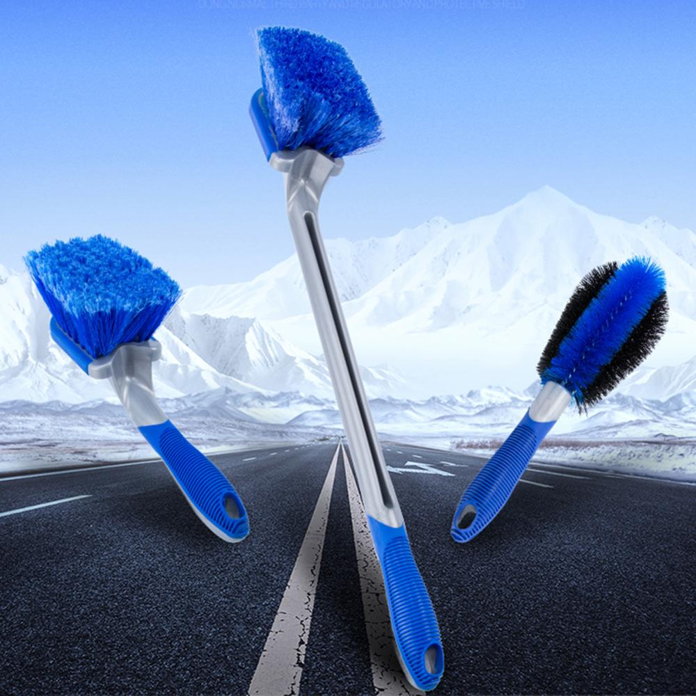 OLOMM Car Tyre Cleaning Brush 3 Pack Tire Wheel Rim Hub Brushes Auto Washer Vehicle Body Surface Wheel Scrub Cleaner Tool