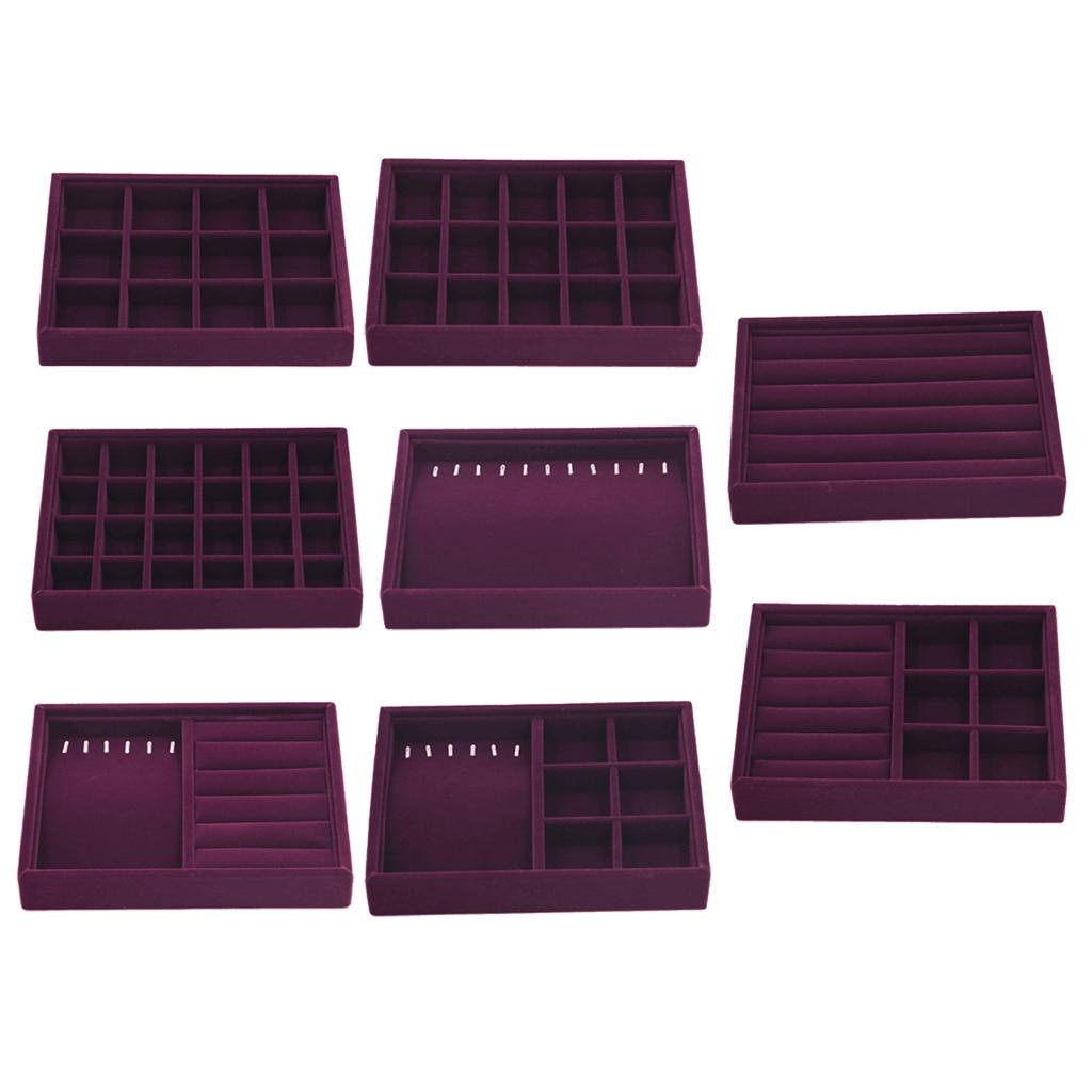 Elegant Purple Velvet Stackable Jewelry Ring Earring Display Tray 24 Girds Case Holder Organizers Storage Showcase