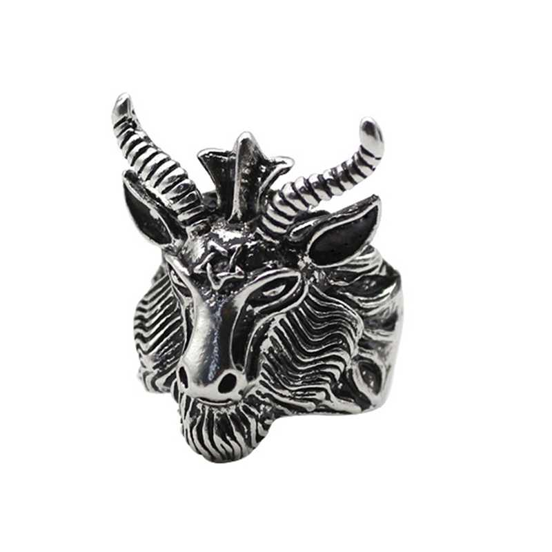 Men Devil Satan Hexagram Black Goat Sheep Ring Punk Rock Biker Rings Vintage Black Big Sheep Head Rings Jewelry
