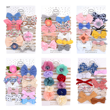 10/12 Pcs Printed Baby Girl Headband Flower Bows Kids Newborn Turban Dot Headbands Hair