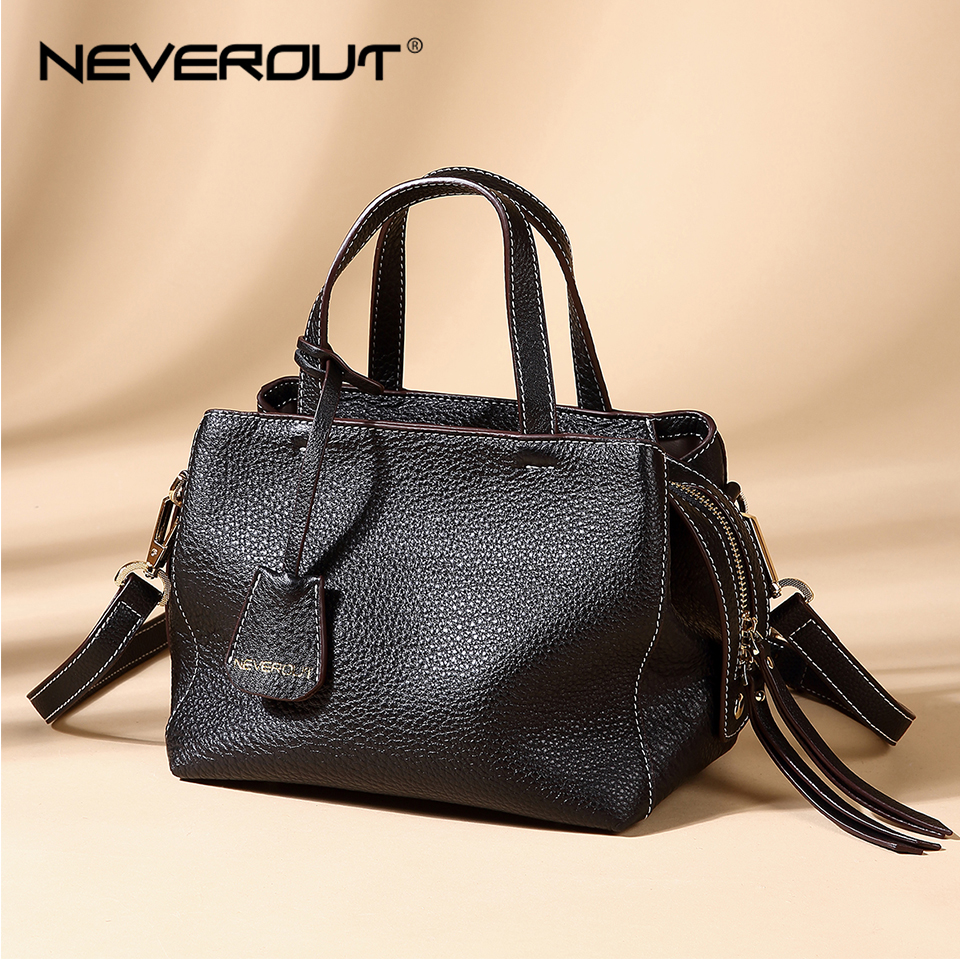 NEVEROUT Brand Name Women's Soft Genuine Leather Handbags Solid Shoulder Sac Ladies Small Crossbody Purse Casual Zipper Handbag