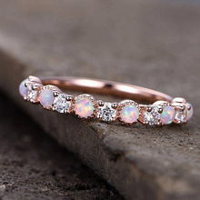 USTAR Round Fire Opal Knuckle Wedding Rings for women Rose gold Dainty CZ Crystals Engagement Female jewelry Anel gift