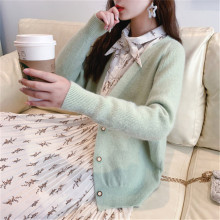 Korean Fashion Bat Sleeve Sweater For Women Single-breasted V-Neck Long Thick Warm Winter Wool Knit Female Cardigan Coat