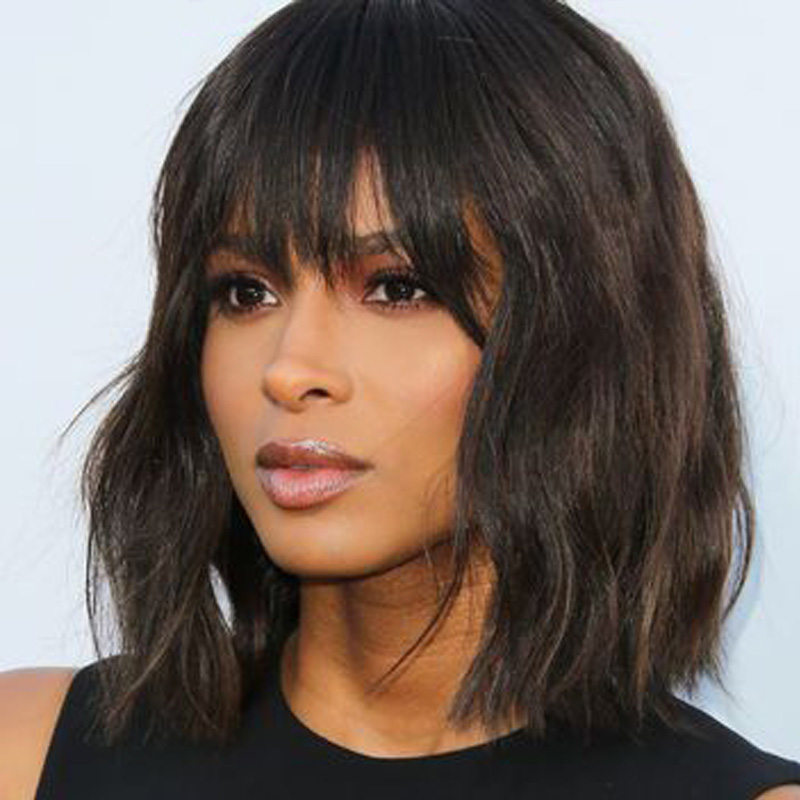 Short Human Hair Wigs With Bangs For Black Women Brazilian Bob Wig Loose Body Wave  Natural Color Dark Brown Wig Hair Ms Love