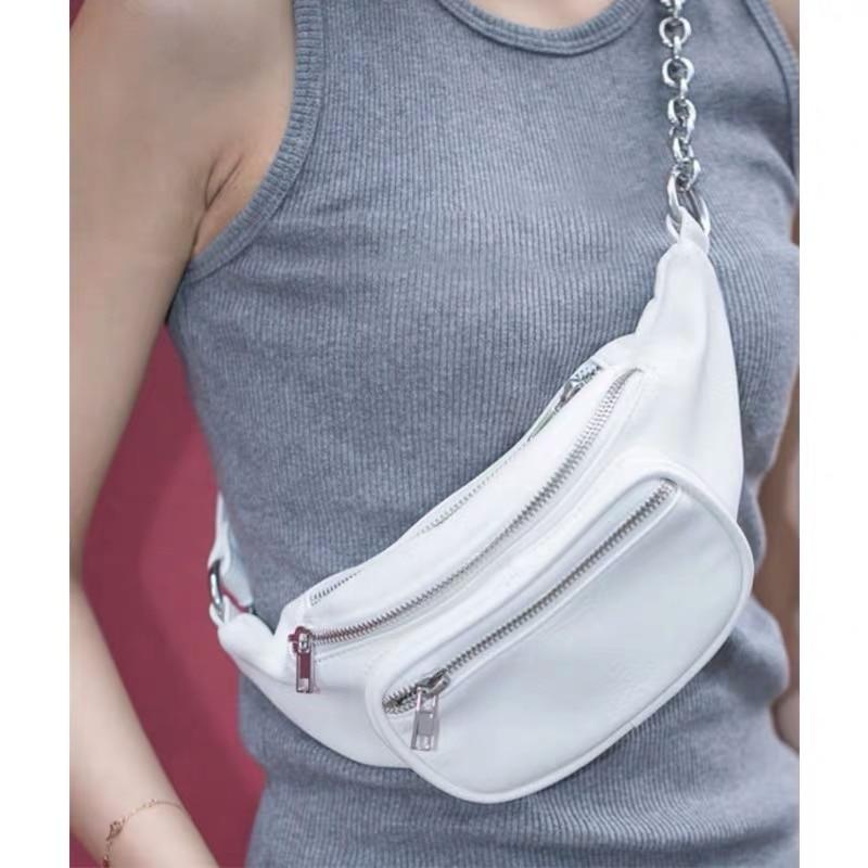 White Black Travel Waist Packs Chain Leather Fanny Packs Bike Belt Bags With Pockets Ins Brand Designer Chest Bags For Girls