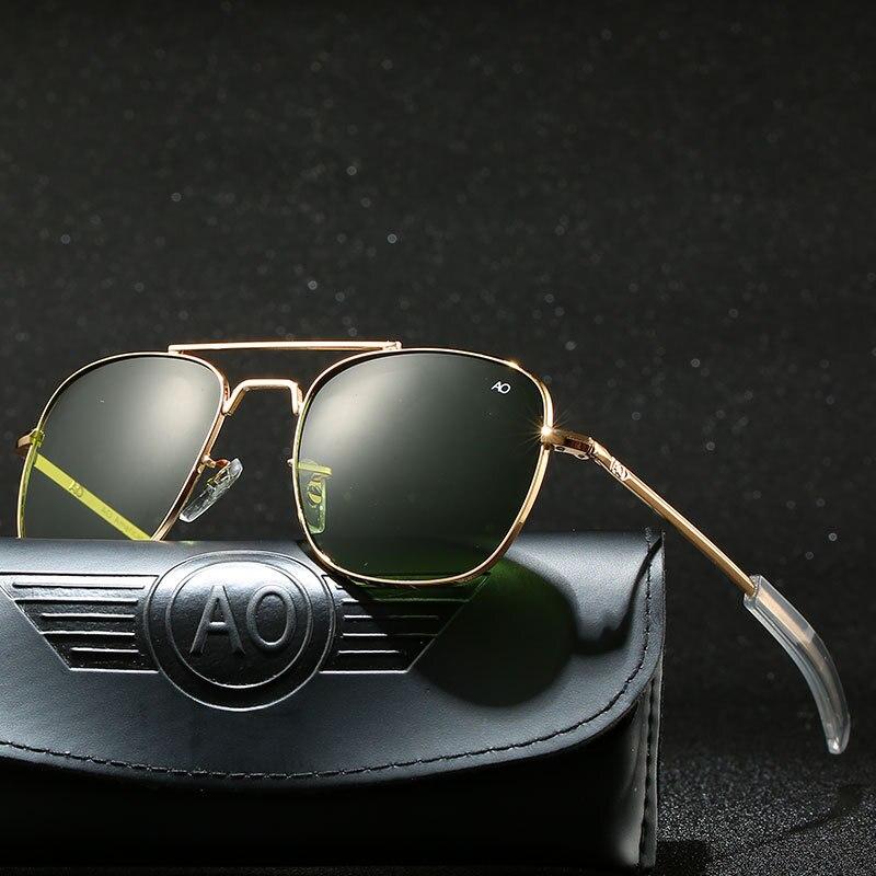 Aviação óculos de sol masculino 2019 militar do exército americano óculos de sol óptico ao 8052 polit condução retângulo oculos de sol