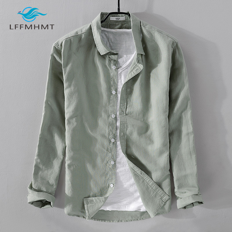 Men Spring And Autumn Japan Style Vintage Solid Color Cotton Linen Long Sleeve Shirt Male Casual Slim Fit White Shirts Cloth