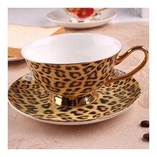 цена на Leopard print fashion coffee cup and saucer british royal tea cappuccino ceramic cup and saucer bone china