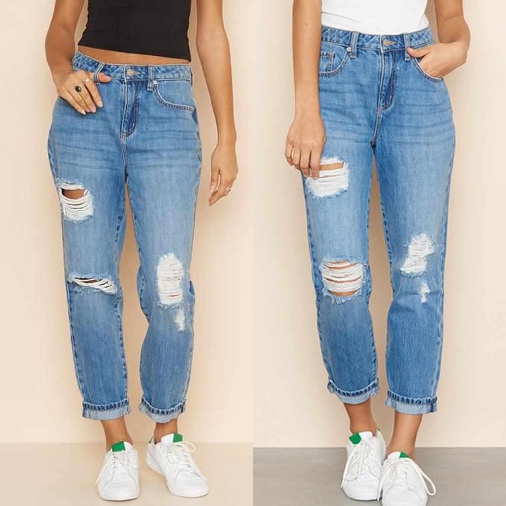2020 Blue Ripped Distressed Boyfriend Ankle Denim Jeans Women Casual Summer Autumn Plain Straight Leg Pants Spring Trousers J30 Jeans Aliexpress