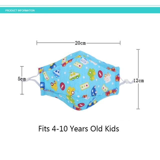 6PCS Anime Kids Children Mask Filter Cartoon Reusable Face Mouth Masks Cotton Washable Pink Black Cute Fabric Kawaii Mask 3