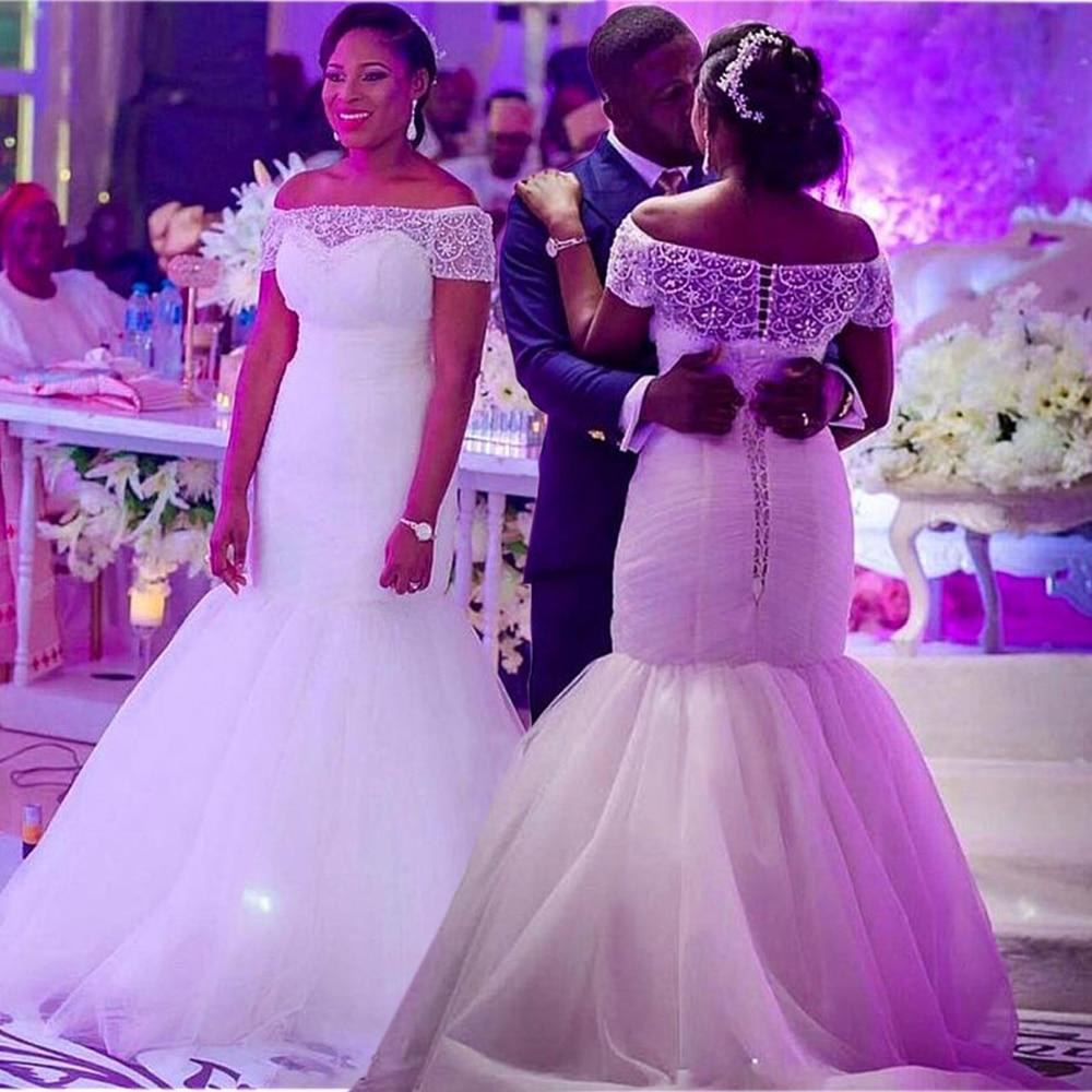 Dubai Arabic Mermaid Wedding Dresses Plus Size 2020 Off Shoulder Lace Tulle Beaded Wedding Gown Custom Made Vestido De Noiva