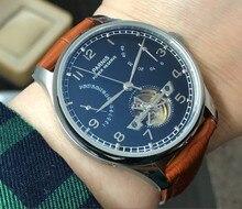 43mm PARNIS שחור חיוג פאוור רזרב אוטומטי עצמי רוח מכאנית תנועה אוטומטי תאריך גברים של שעון עור Starps pa104 p8