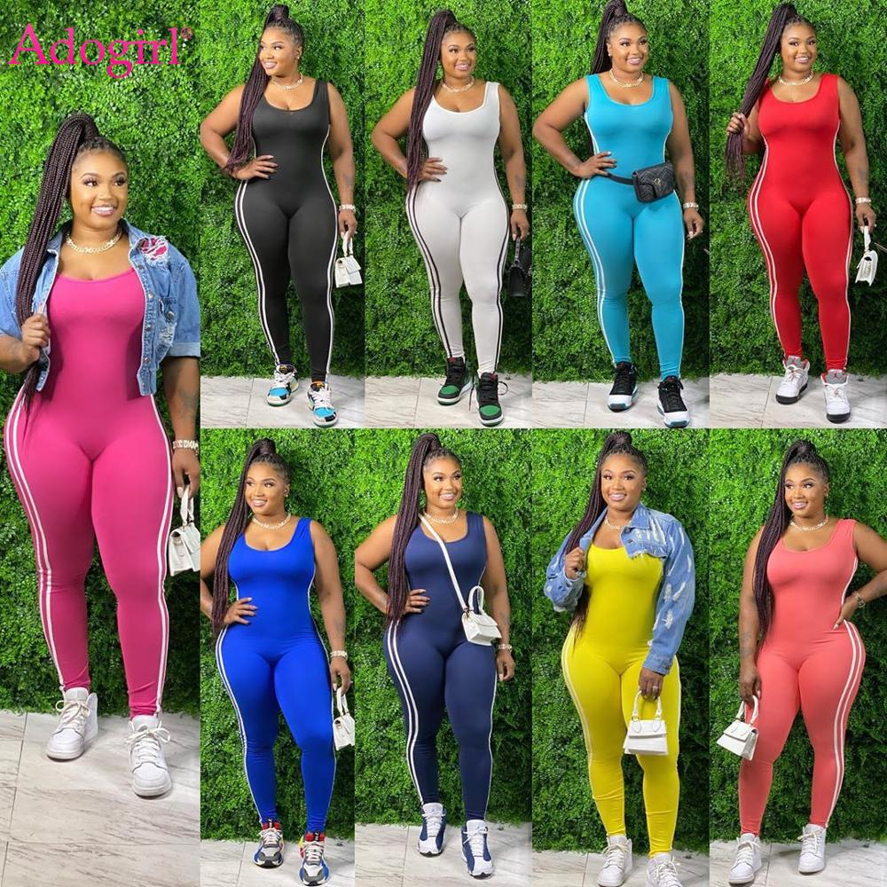 Adogirl Striped Patchwork Jumpsuit Plus Size XL-5 XL Casual Tank Vest Backless Pants Romper Fashion Home Tracksuit One Piece