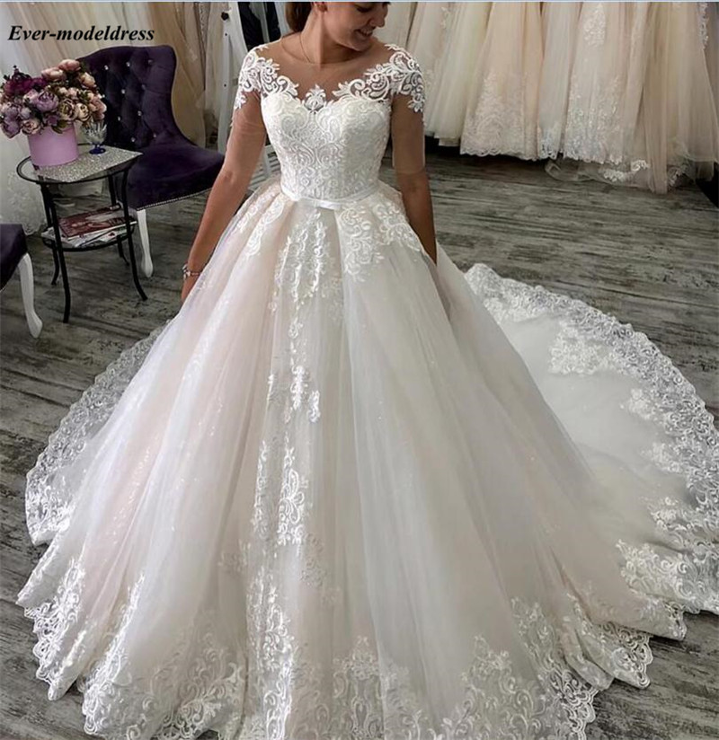New Lace Ball Gown Princess Wedding Dresses Half Sleeves Illusion Scoop Lace-Up Back Appliques Bridal Gowns Court Train Vestido