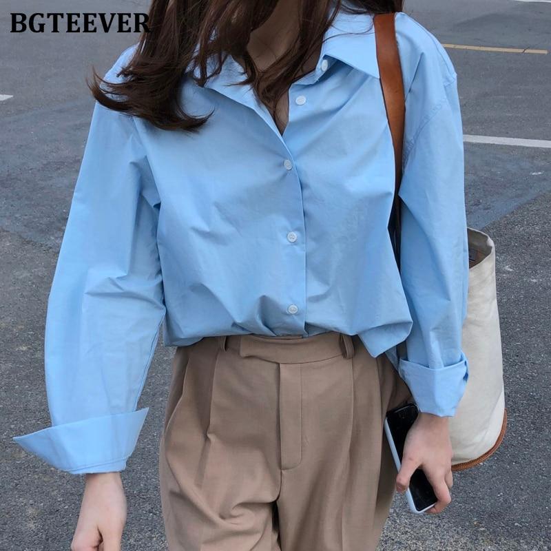 BGTEEVER повседневные свободные женские блузки рубашки минималистичные однобортные женские синие рубашки 2020 Весна Лето Топы оверсайз femme|Блузки и рубашки|   | АлиЭкспресс