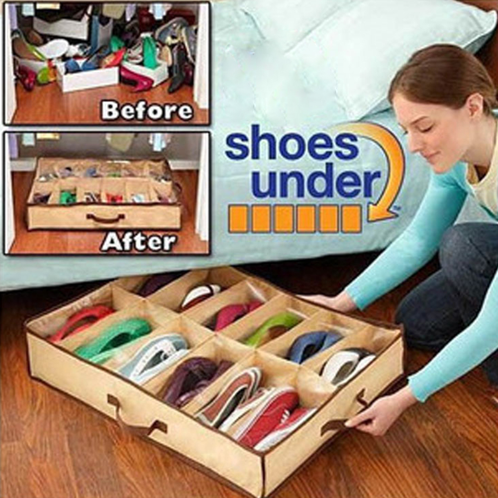 Reusable Washable Folding Shoes Storage Box Anti Moisture Shoes Dustproof Box Space Saving Home Under Bed Shoe Storage Organizer